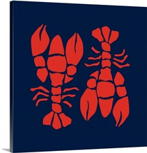 Lobsters Red On Navy