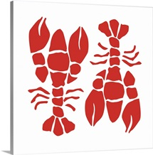 Lobsters Red On White