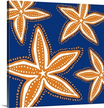 Starfish Orange On Blue