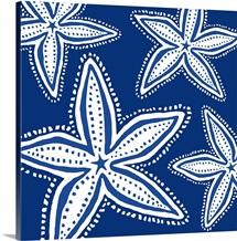 Starfish White On Blue