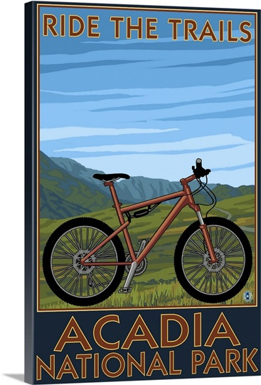 acadia national park maine bicycle scene retro travel poster wall art canvas prints framed. Black Bedroom Furniture Sets. Home Design Ideas