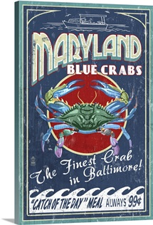 Baltimore, Maryland - Blue Crabs Vintage Sign: Retro Travel Poster
