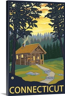 Cabin Scene - Connecticut: Retro Travel Poster