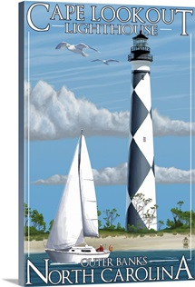 Cape Lookout Lighthouse - Outer Banks, North Carolina: Retro Travel Poster