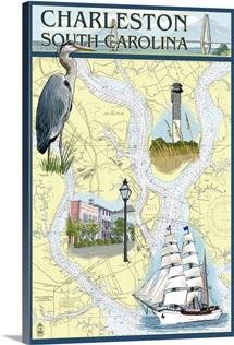 Charleston, South Carolina - Nautical Chart: Retro Travel Poster
