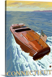 Chris Craft Boat - Connecticut: Retro Travel Poster