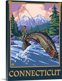 Connecticut - Angler Fisherman Scene: Retro Travel Poster