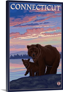 Connecticut - Bear and Cub: Retro Travel Poster