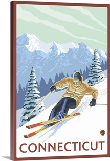 Connecticut - Downhill Skier Scene: Retro Travel Poster