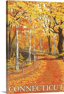 Connecticut - Fall Colors Scene: Retro Travel Poster