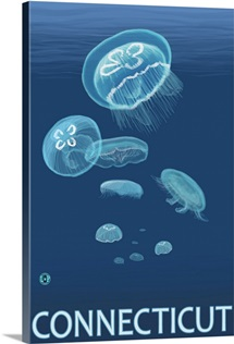 Connecticut - Jellyfish Scene: Retro Travel Poster