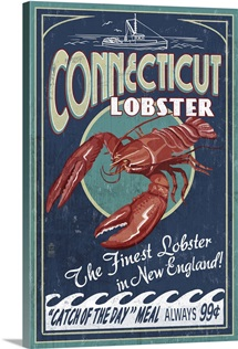Connecticut - Lobster Shack Vintage Sign: Retro Travel Poster