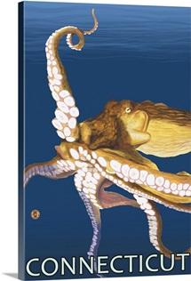 Connecticut - Octopus Scene: Retro Travel Poster