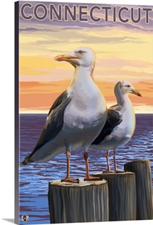 Connecticut - Sea Gulls Scene: Retro Travel Poster