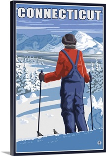 Connecticut - Skier Admiring View: Retro Travel Poster
