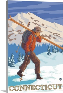 Connecticut - Skier Carrying Skis: Retro Travel Poster