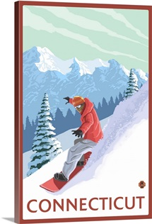 Connecticut - Snowboarder Scene: Retro Travel Poster