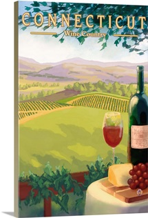 Connecticut - Wine Country Scene: Retro Travel Poster