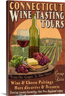 Connecticut - Wine Tours Vintage Sign: Retro Travel Poster