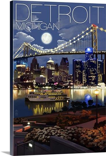 Detroit Michigan Skyline At Night Retro Travel Poster