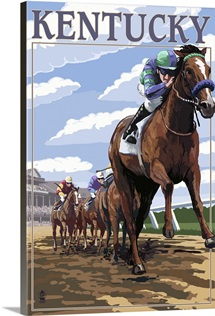 Kentucky - Horse Racing Track Scene: Retro Travel Poster
