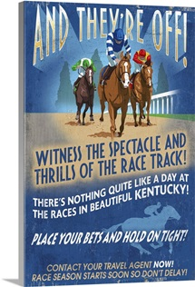 Kentucky - Horse Racing Vintage Sign: Retro Travel Poster