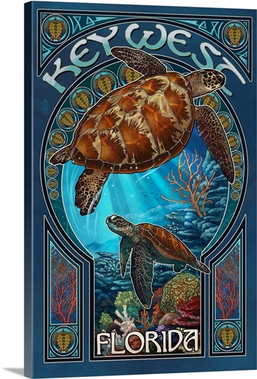 Key West, Florida - Sea Turtle Art Nouveau: Retro Travel ...