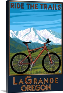 lagrande oregon ride the trails mountain bike retro travel poster photo canvas print. Black Bedroom Furniture Sets. Home Design Ideas