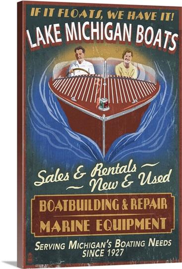 Lake Michigan Michigan Boat Shop Vintage Sign Retro Travel Poster Photo Canvas