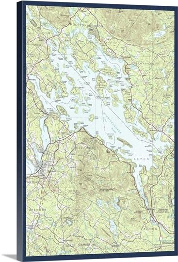 Lake Winnipesaukee New Hampshire Map Only Retro Travel