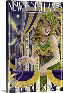 Mardi Gras - New Orleans, Louisiana: Retro Travel Poster