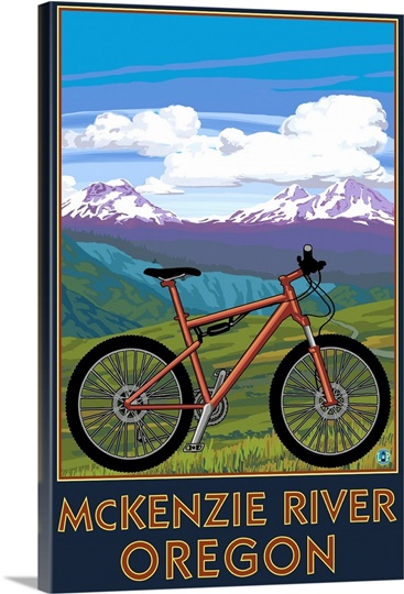 mckenzie river bicycle scene retro travel poster photo canvas print great big canvas. Black Bedroom Furniture Sets. Home Design Ideas