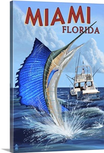Miami florida deep sea fishing retro travel poster for Deep sea fishing miami fl