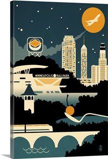 Minneapolis, Minnesota, Retro Skyline