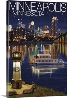 Minneapolis, Minnesota - Skyline at Night: Retro Travel Poster