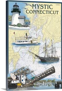 Mystic, Connecticut - Nautical Chart: Retro Travel Poster