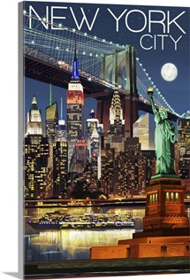 New York City, NY - Skyline at Night: Retro Travel Poster
