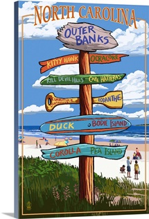Outer Banks, North Carolina - Sign Destinations: Retro Travel Poster