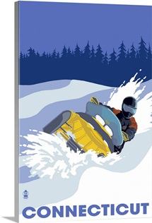 Snowmobile Scene - Connecticut: Retro Travel Poster