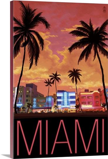 South Beach Miami Florida Retro Travel Poster Photo