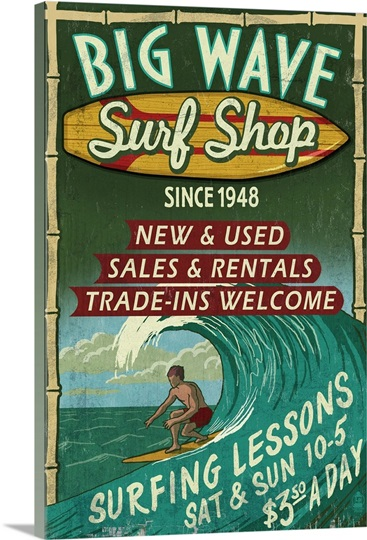 Surf Shop Vintage Sign Photo Canvas Print Great Big Canvas