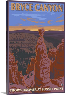 Thor's Hammer - Bryce Canyon, UT: Retro Travel Poster