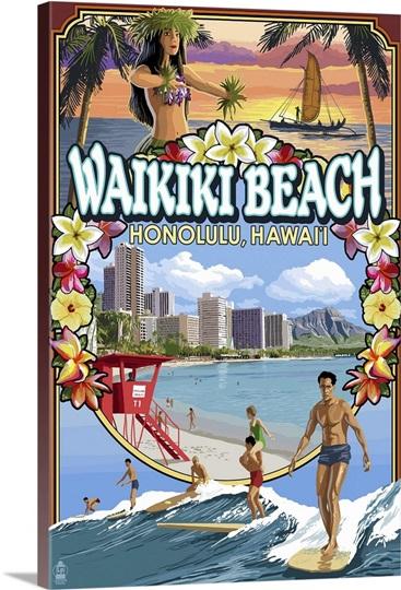 Waikiki Beach Oahu Hawaii Scenes Retro Travel Poster