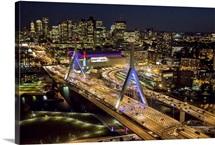 Boston At Night, Massachusetts - Aerial Photograph