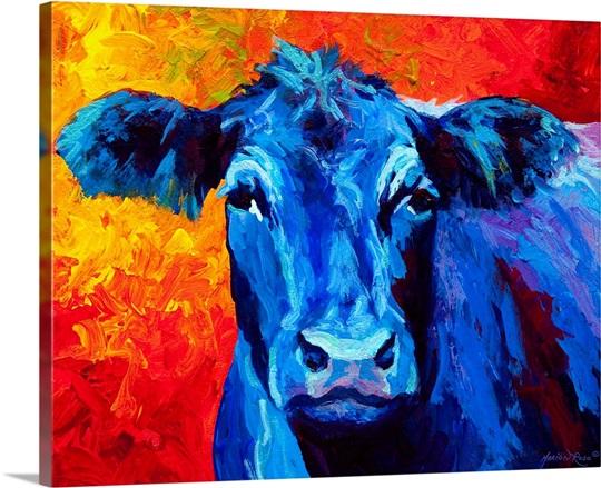 Blue Cow Photo Canvas Print Great Big Canvas