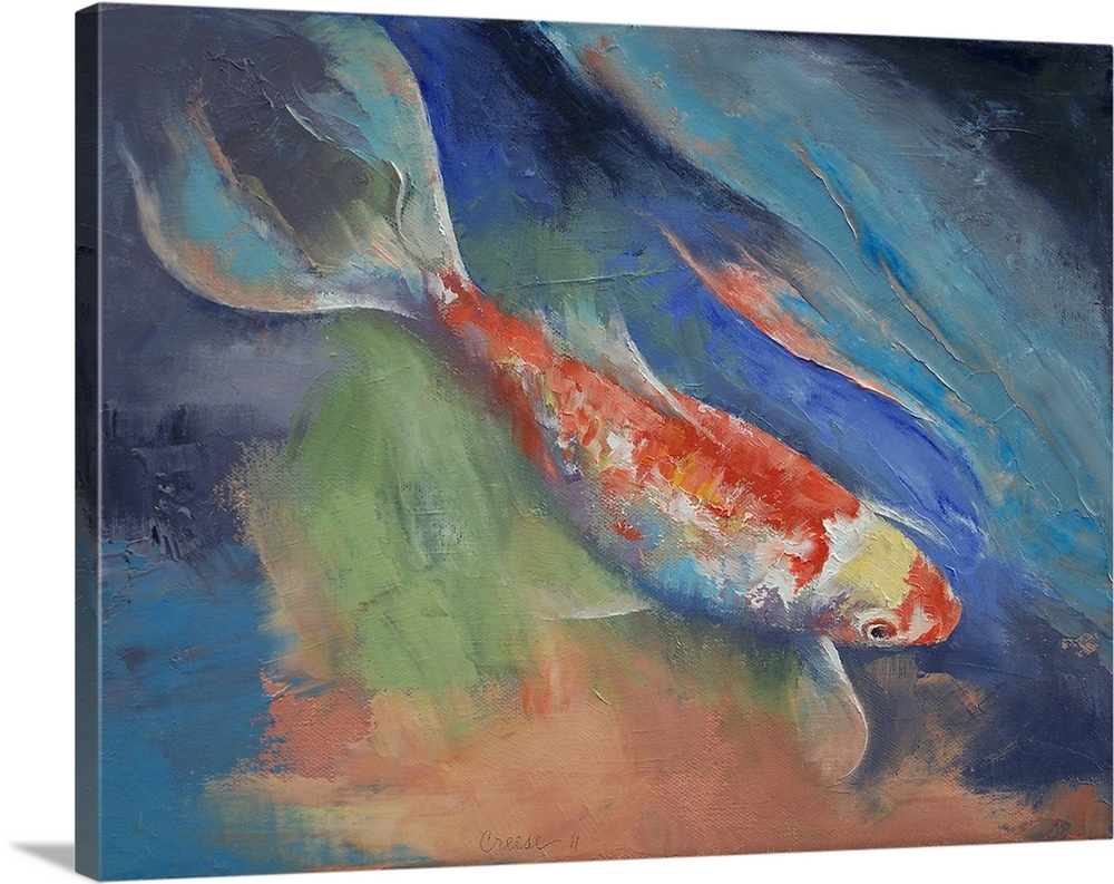 Premium thick wrap canvas wall art entitled coral and for Koi canvas art