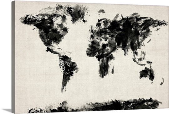 abstract black and white world map photo canvas print great big canvas. Black Bedroom Furniture Sets. Home Design Ideas
