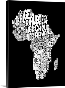 African Countries Text Map, Black and White