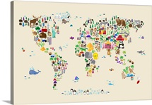 Animal Map of the World for children, Tan