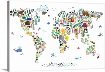 Animal Map of the World for children, White